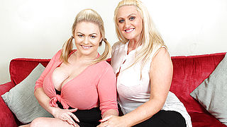 Big breasted British old and young lesbians having a ball