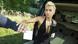 Horny housewife fucked by a car in POV style
