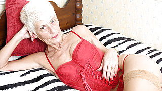 Naughty British mature lady playing alone