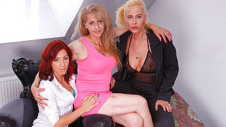 These three old and young lesbians share their hairy wet pussies