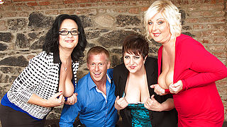 Three horny housewives share a toyboy