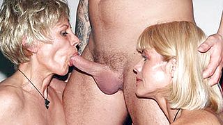 Sexy Grannies Take Turns Riding a Cock