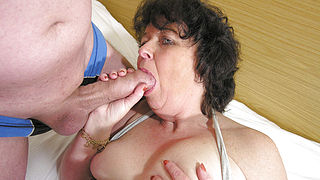 This horny mama loves to get fucked by two guys