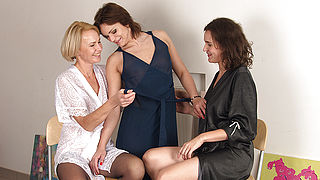 Three housewives sharing one hard cock